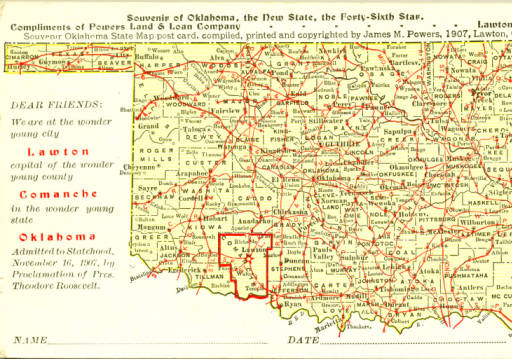 Map of Oklahoma from 1907