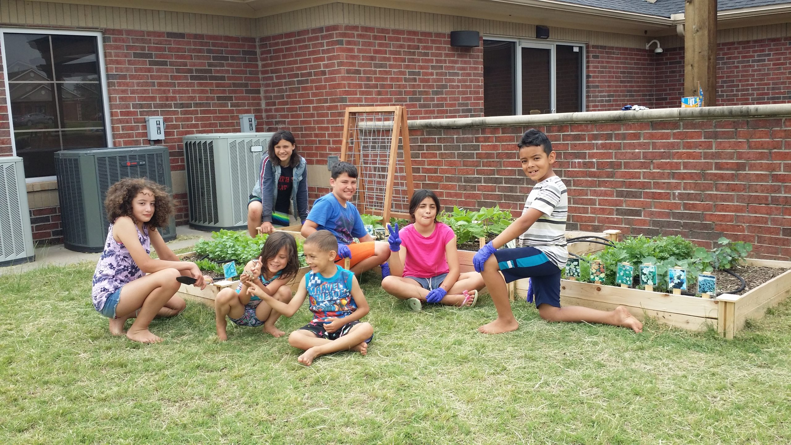 Lujan Family at the Blanchard Public Library garden