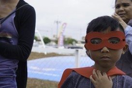 Book Festival 2019, boy in super hero mask