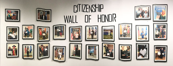 Wall of honor, picture of new citizens