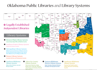 Oklahoma Libraries and Systems map