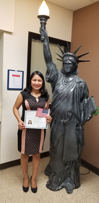 New Citizen, Omaria Serrano, from Guatemala, Southern Oaks Public Library