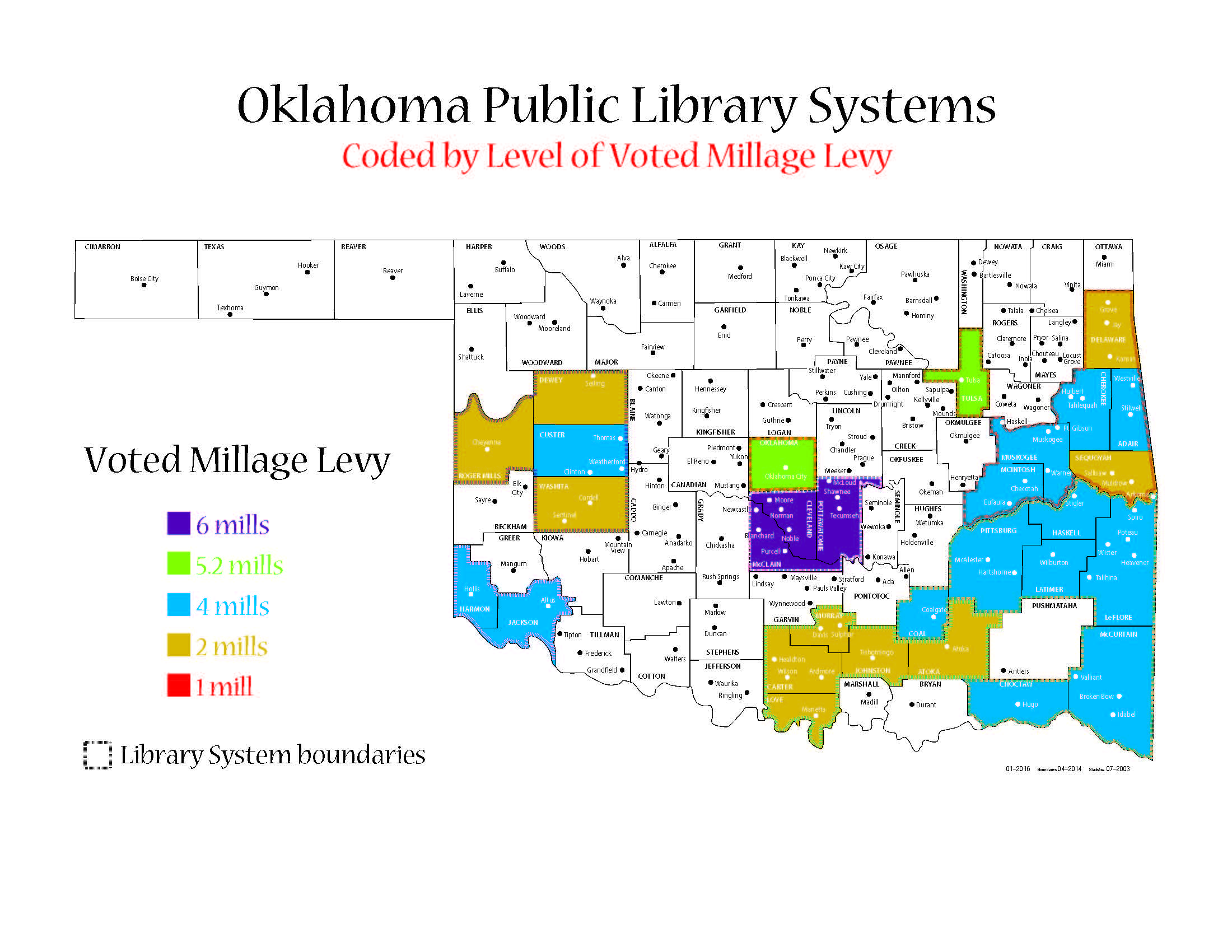 Oklahoma Public Libraries Coded by Millage